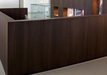 Decorative Laminate 1836 Brown Oak Reception Area