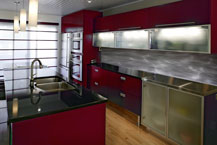 Red Kitchen - Swirl Back Splash